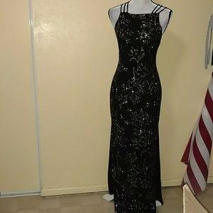 Medium black & silver maxi dress by all that jazz